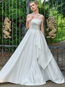 Ericdress Strapless A Line Matte Satin Wedding Dress