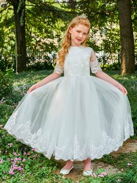 Ericdress Jewel A Line Appliques Short Sleeves Flower Girl Dress