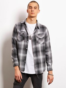 Ericdress Plaid Long Sleeve Tassel Edge Vogue Locomotive Men's Shirt
