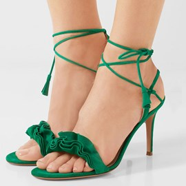 Ericdress Green Purfle Cross Strap Stiletto Sandals