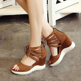 Ericdress Eurameric Suede Peep Toe Wedge Sandals