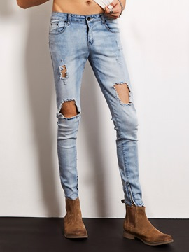 Ericdress Hole Slim Denim Locomotive Men's Jeans
