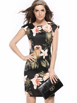 Ericdress Delicate Print Cap Sleeve Back-Zipper Bodycon Dress