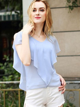 Ericdress Ruffle Sleeve V-Neck Loose Blouse