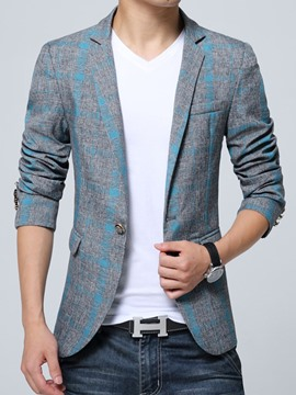 Ericdresss One Button Vogue Plaid Slim Men's Blazer