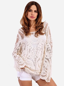 Ericdress Embroidery Lace See-Through Blouse