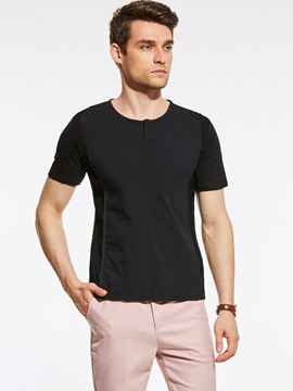 Ericdress Black Short Sleeve Casual Slim Men's T-Shirt