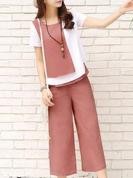 Ericdress Pocket Color Block Wide Legs Round Neck T-Shirt And Pants Two Piece Sets
