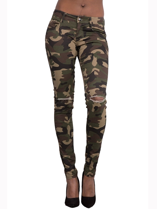 Ericdress Camouflage Hole Leggings Pants