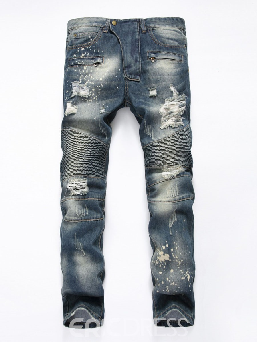 Ericdress Pleated Denim Holes Casual Mens Jeans
