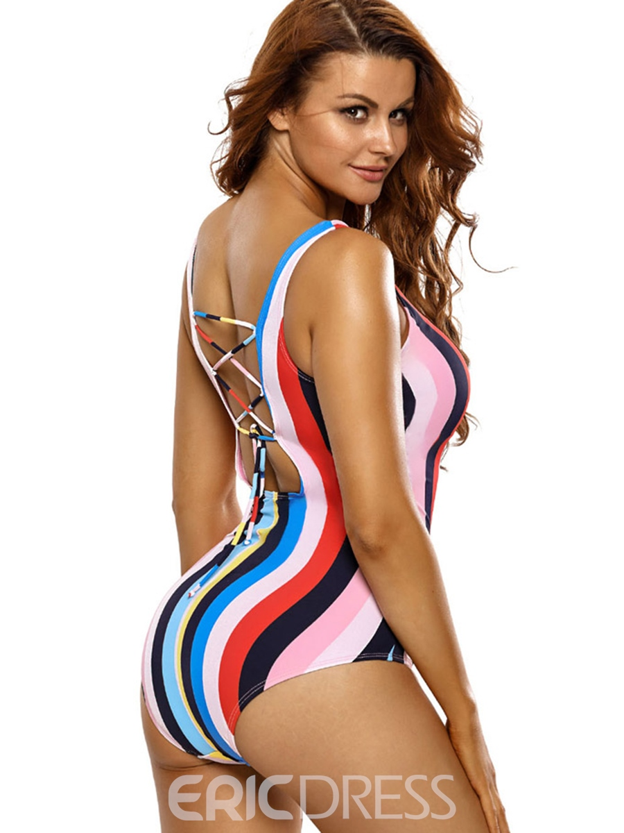 Ericdress Colorful Stripe Backless Monokini (Plus Size Available)