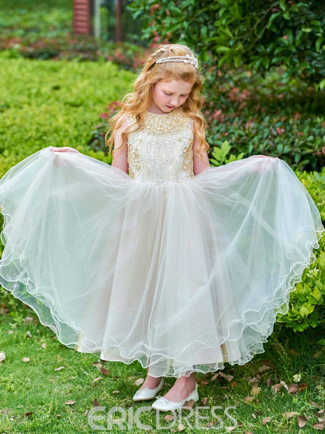 Ericdress Jewel Beaded Ankle Length Flower Girl Dress