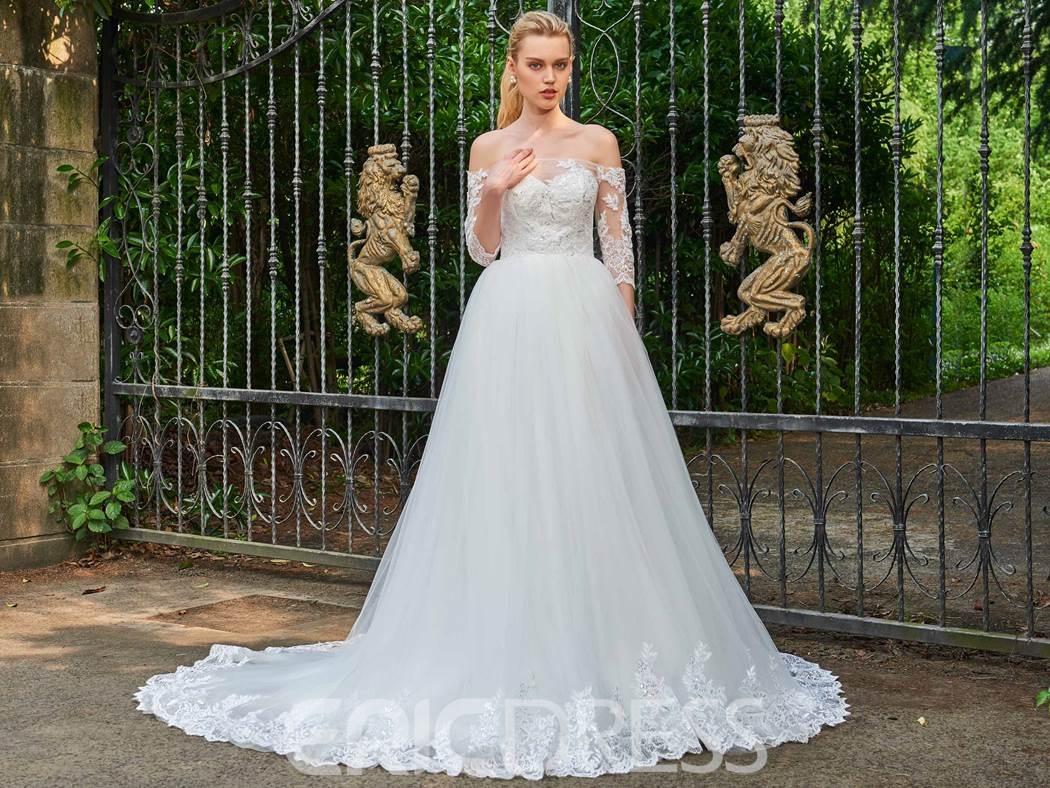 Ericdress Off The Shoulder Half Sleeves Appliques Wedding Dress