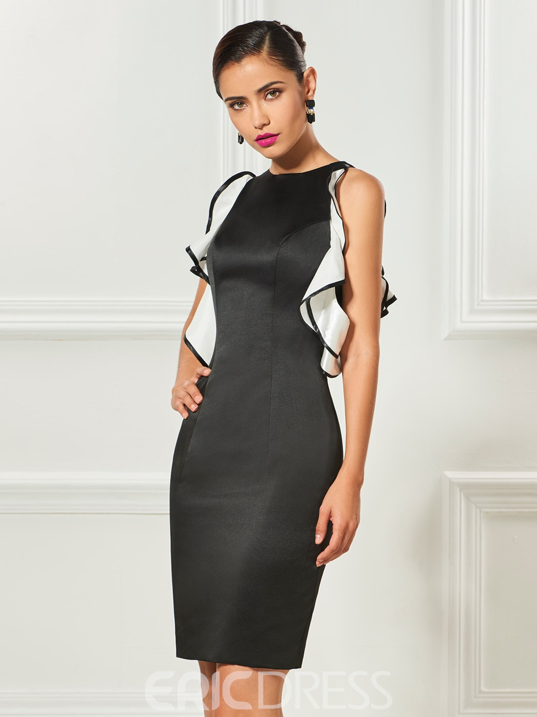 Ericdress Sheath Jewel Neck Satin Knee Length Cocktail Dress