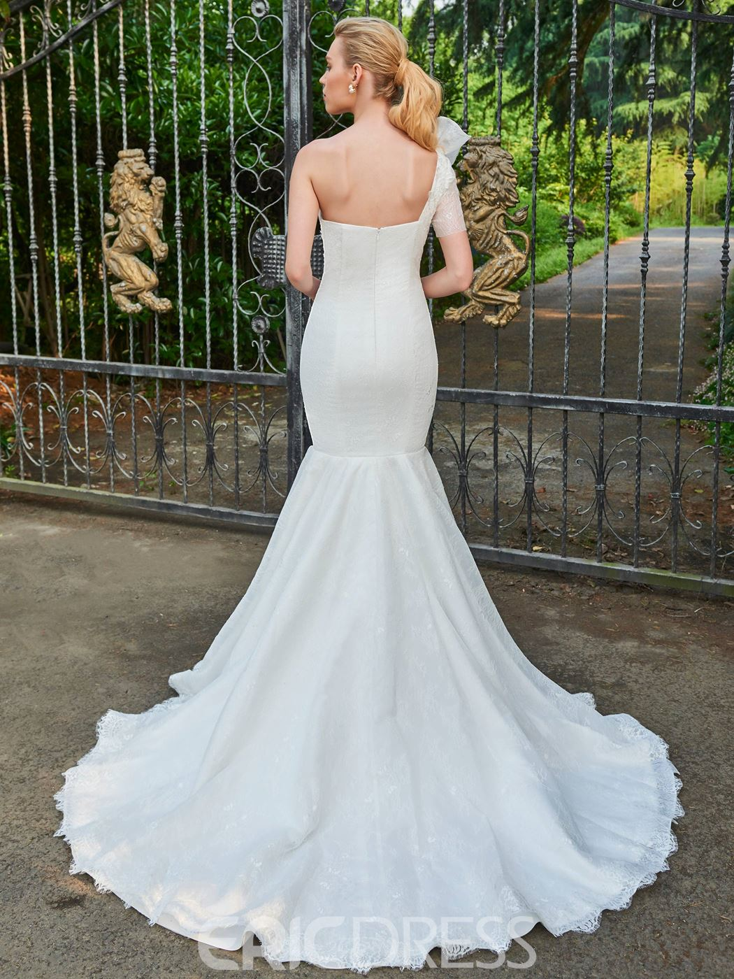 Ericdress Lace Mermaid One Shoulder Court Train Wedding Dress