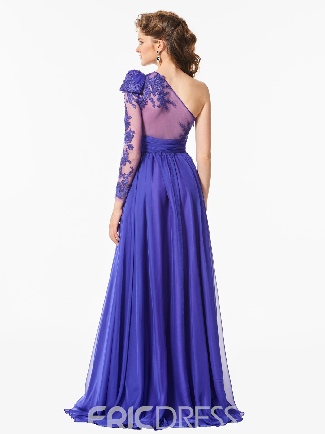 Ericdress A Line One Sleeve Applique Long Prom Dress With Slit Side
