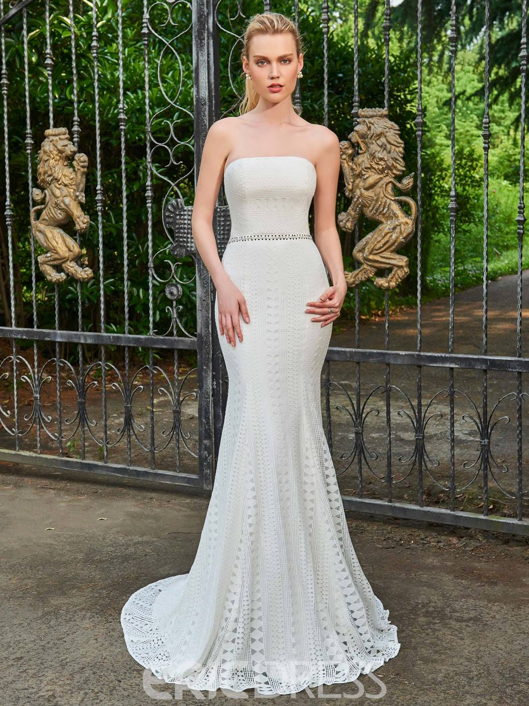 Ericdress Lace Mermaid Strapless Beaded Wedding Dress