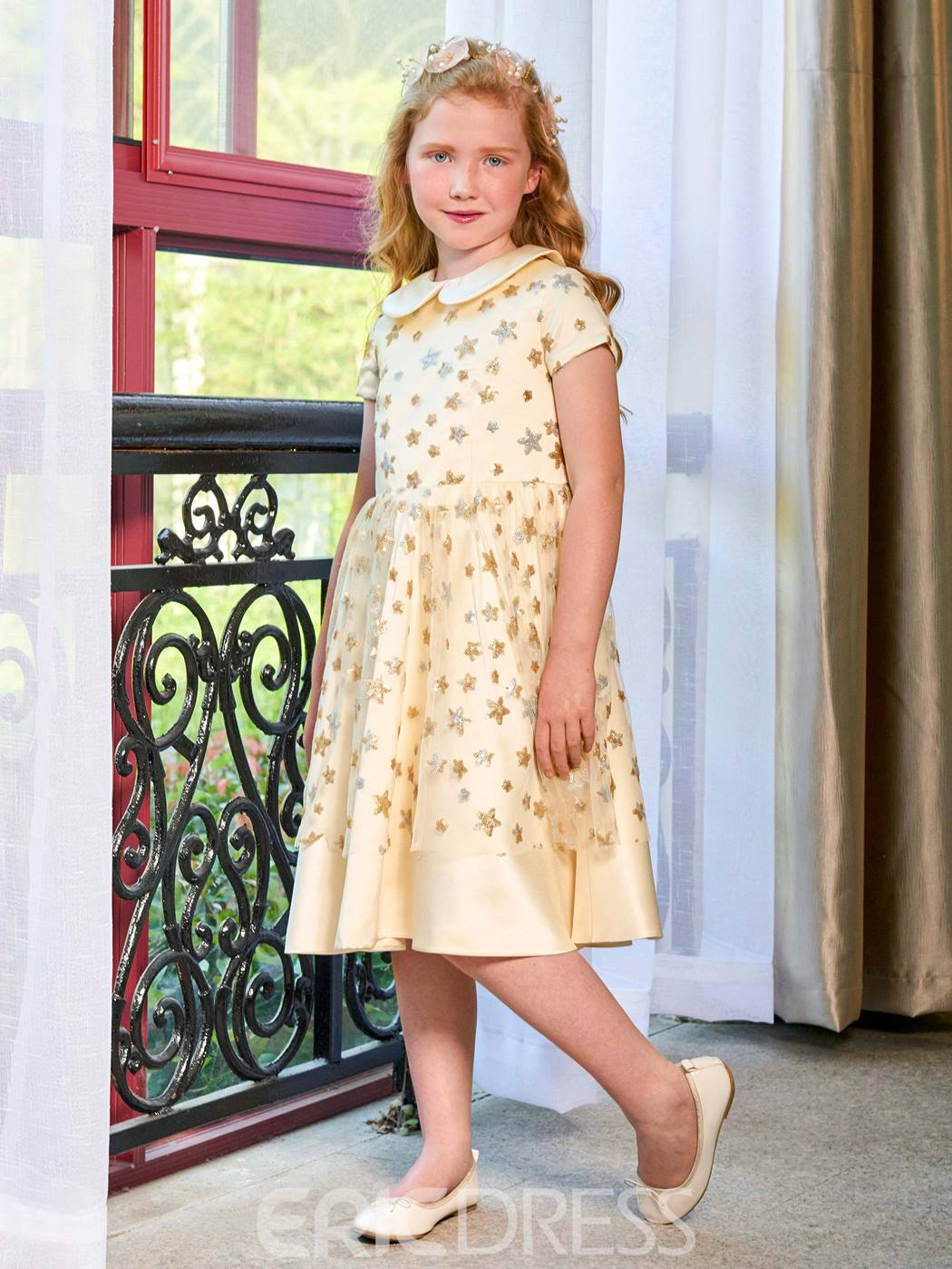 Ericdress Doll Collar A Line Short Sleeves Knee Length Flower Girl Dress