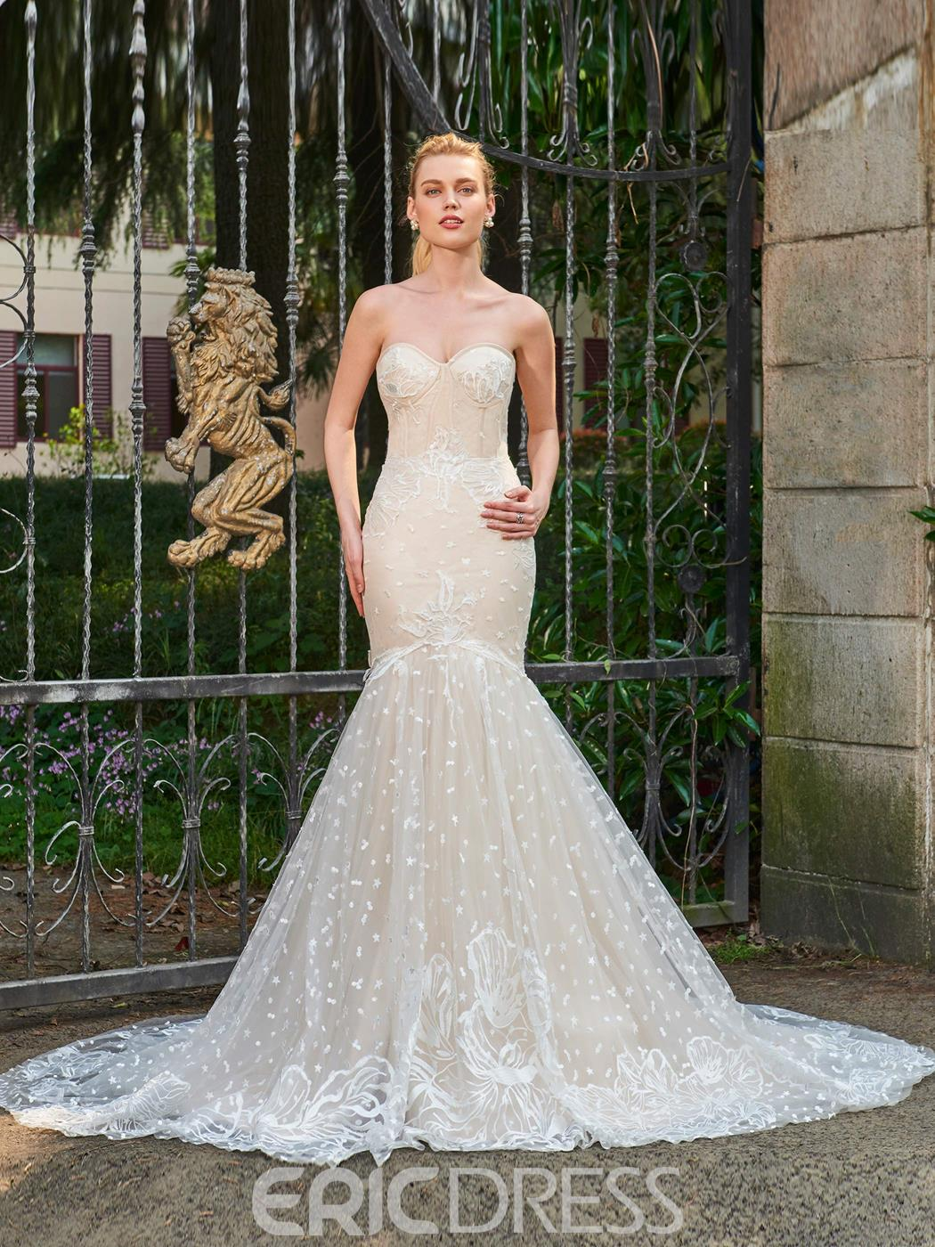 Ericdress Sweetheart Mermaid Lace Color Wedding Dress
