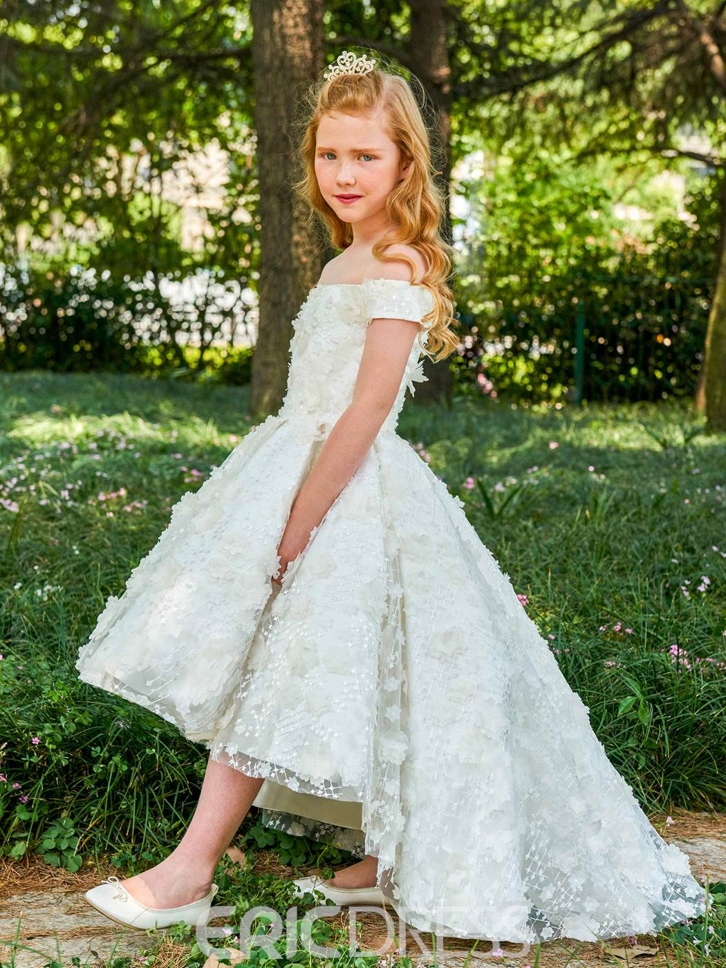 Ericdress Off The Shoulder Lace Princess Flower Girl Dress
