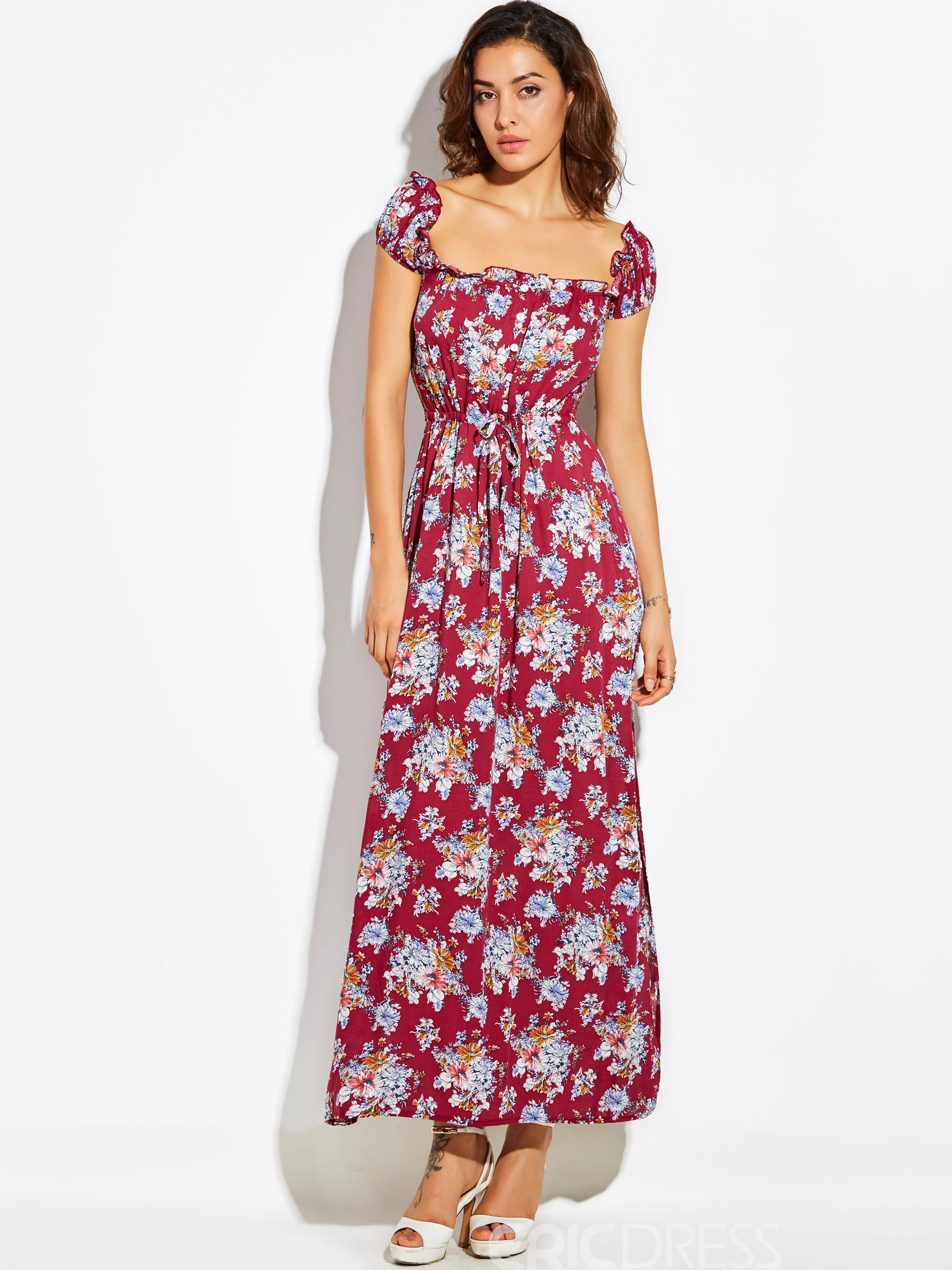Ericdress Drawstring Flower Print Backless Maxi Dress
