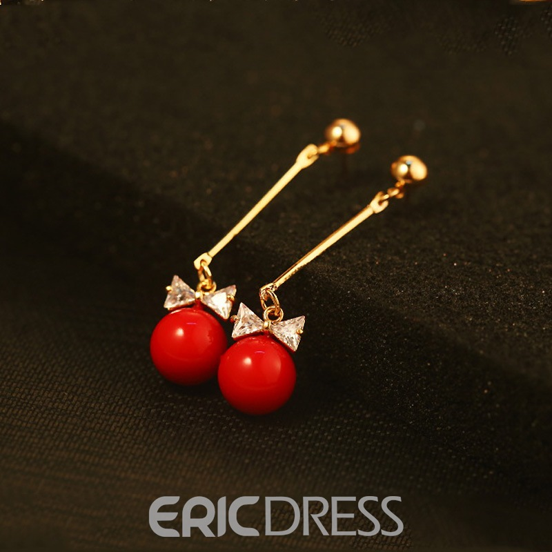 Ericdress Sweet Diamante Bowtie Long Pearl Drop Earring