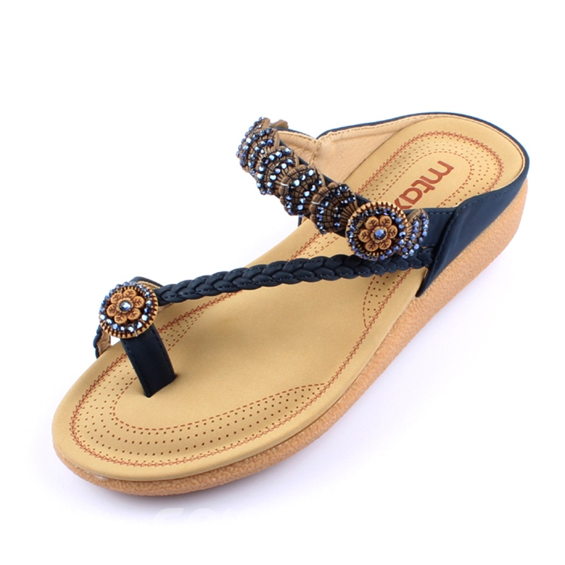 Ericdress Ethnic Beads Toe Ring Mules Shoes