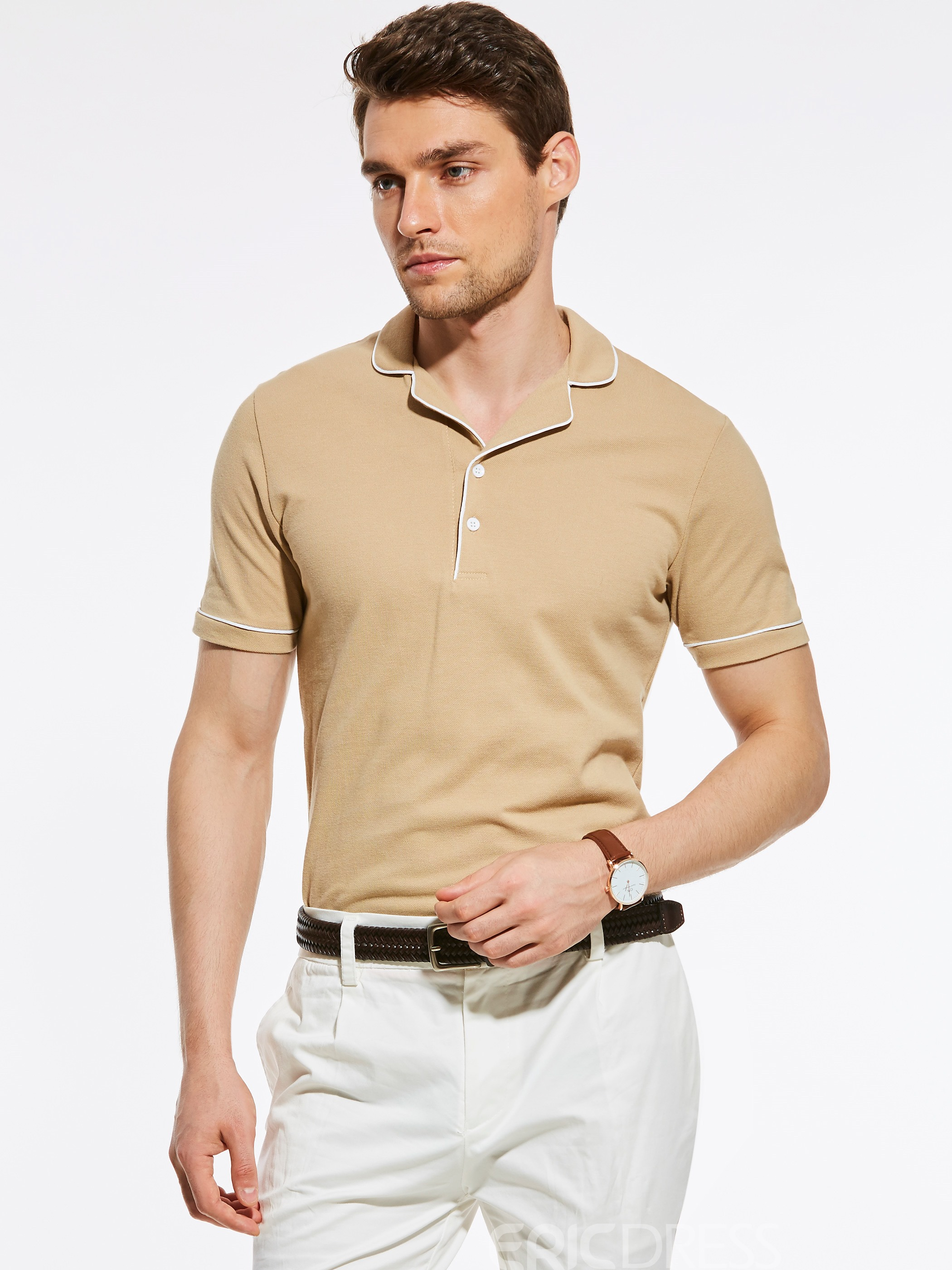 Ericdress Plain Lapel Short Sleeve Men's T-Shirt