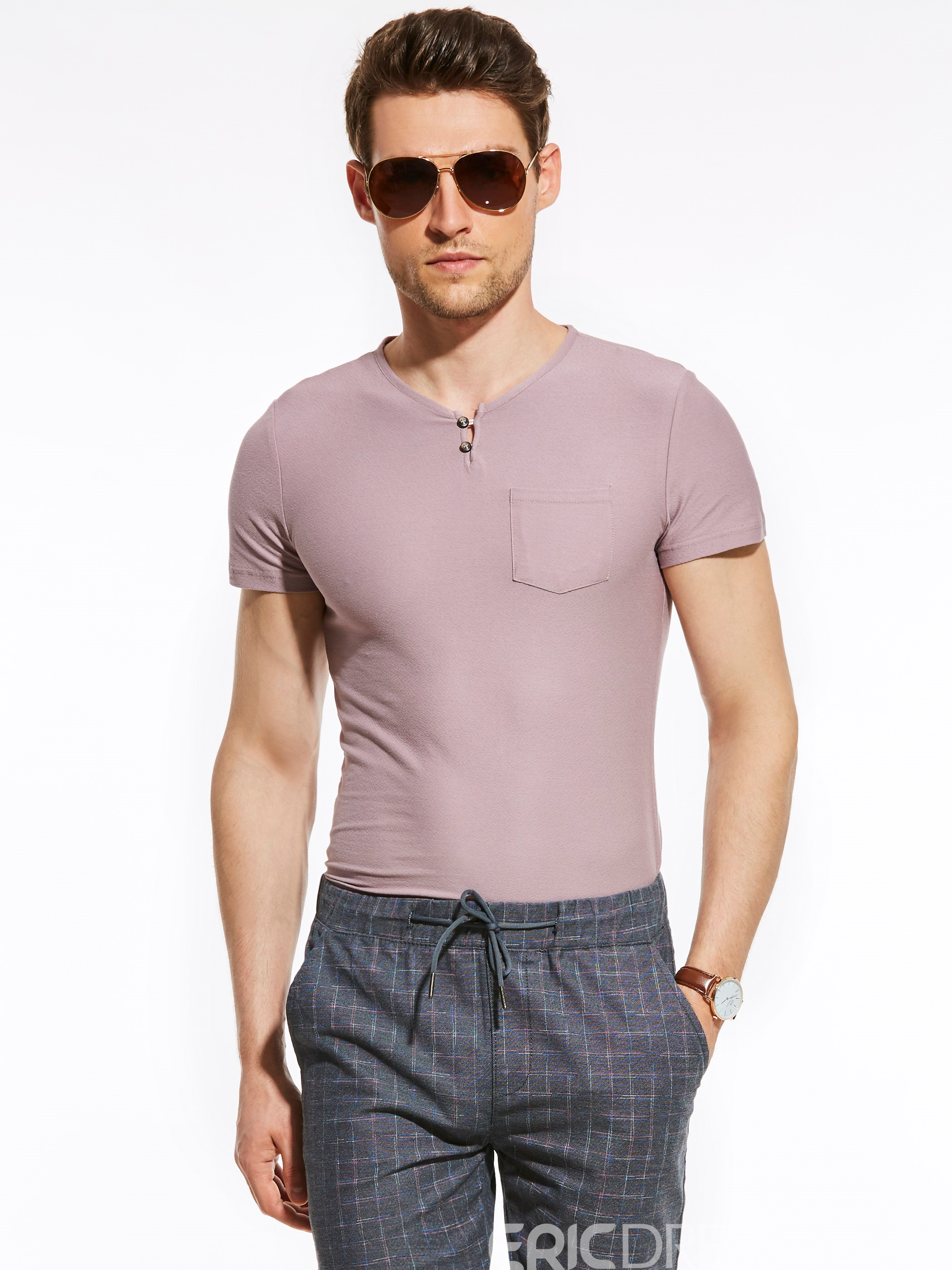 Ericdress Plain Slim Button V-Neck Vogue Casual Men's T-Shirt