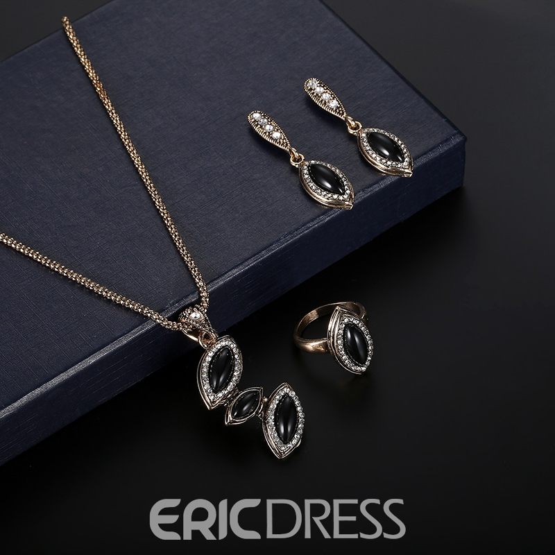 Ericdress Hot Classic Synthetic Diamond Water Droplets Natural Sapphire Jewelry Set