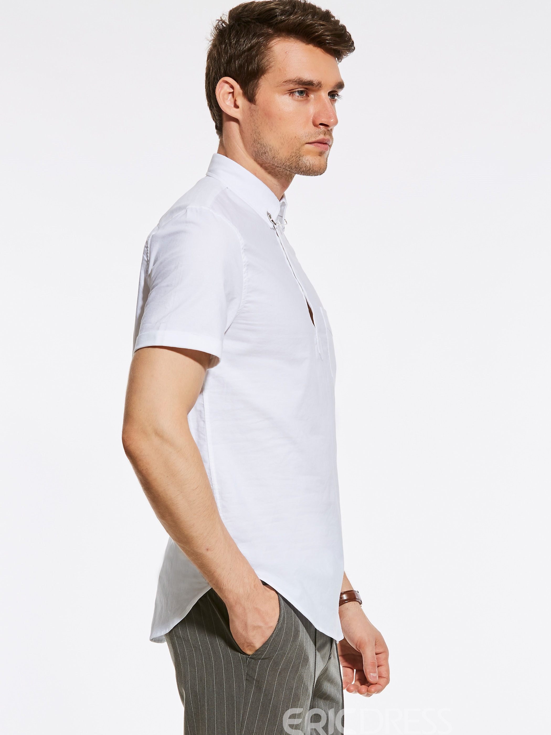 Ericdress Plain Half Button Short Sleeve Quality Men's Shirt