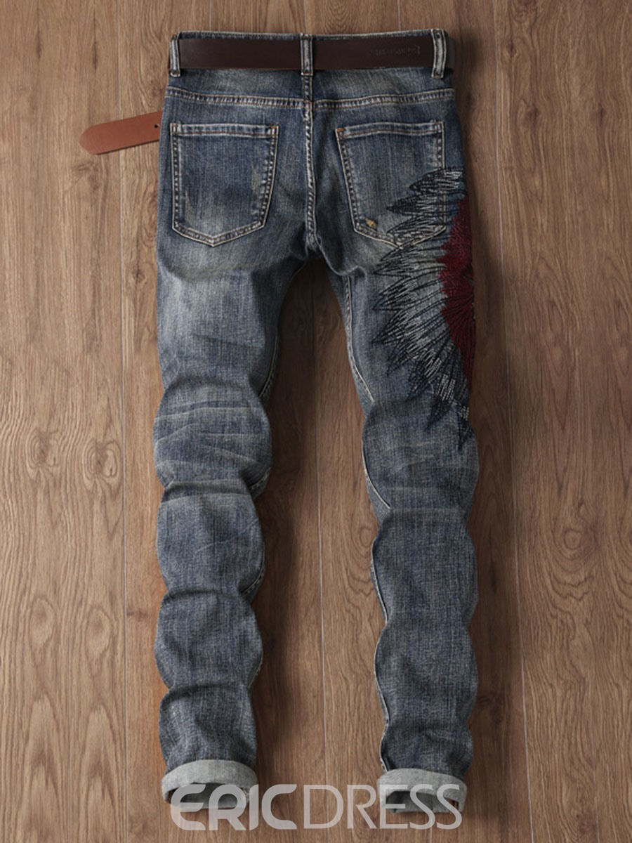 Ericdress Vogue Embroidery Straight Slim Men's Jeans