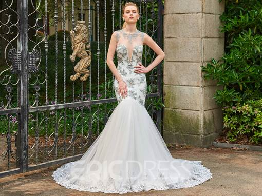Ericdress Jewel Mermaid Appliques Tulle Wedding Dress