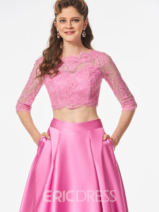 Ericdress A Line 3/4 Lace Sleeve Two Pieces Long Prom Dress