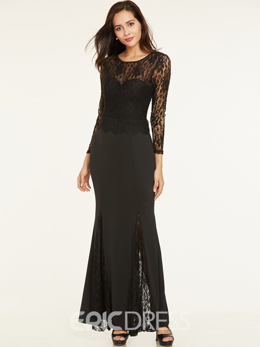Ericdress Scoop Neck Backless Lace Evening Dress