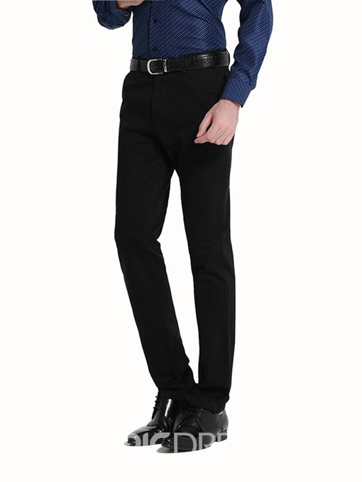 Ericdress Plain Bussiness Straight Slim Men's Chinos Pants
