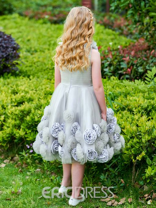 Ericdress Scoop Flowers Knee Length Flower Girl Dress