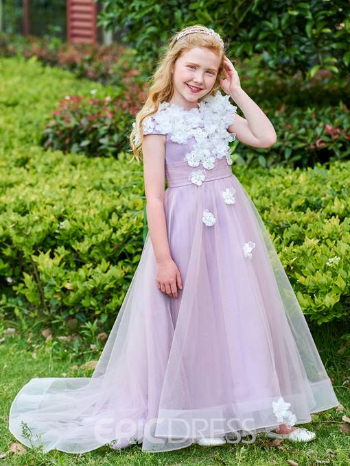 Ericdress Cap Sleeve Beading Flowers Tulle Girl's Party Dress