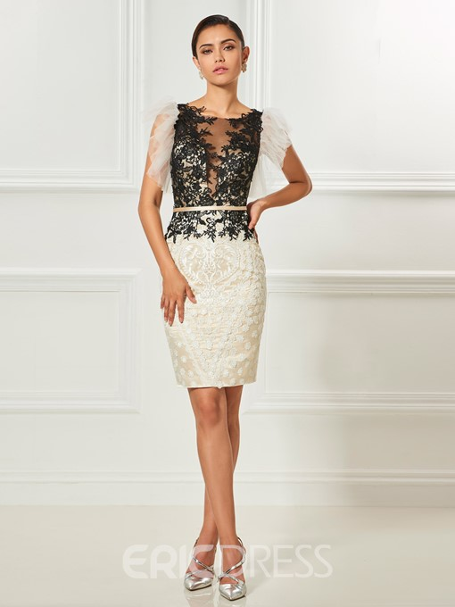 Ericdress Sheath Lace Applique Short Cocktail Dress With Button Back