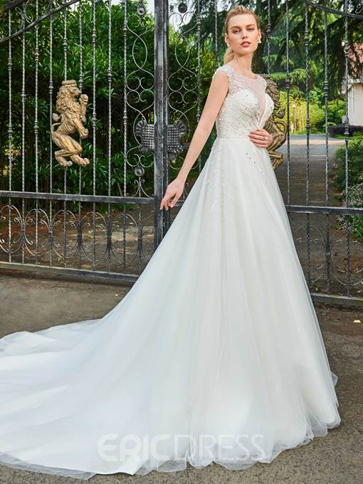 Ericdress A Line Beaded Chapel Train Wedding Dress