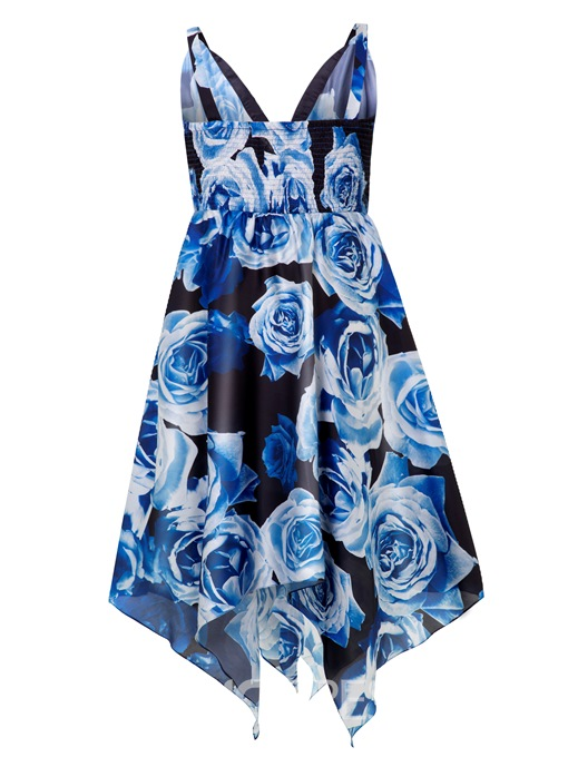 Ericdress Plus Size Mid-Calf V-Neck Sleeveless Floral Spaghetti Strap Dress