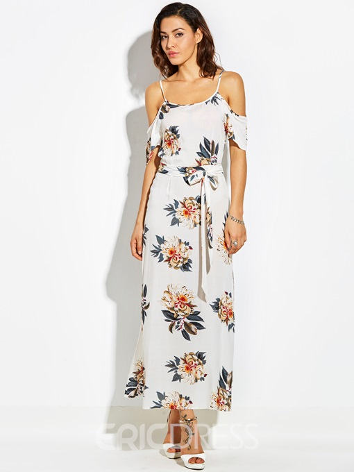 Ericdress Print Cold -the- Shoulder Asymmetrical Maxi Dress
