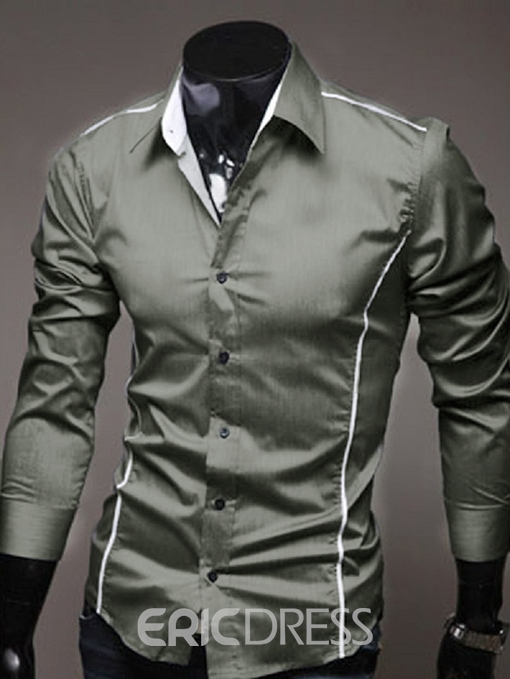 Ericdress Plain Casual Slim Mens Single-Breasted Shirt