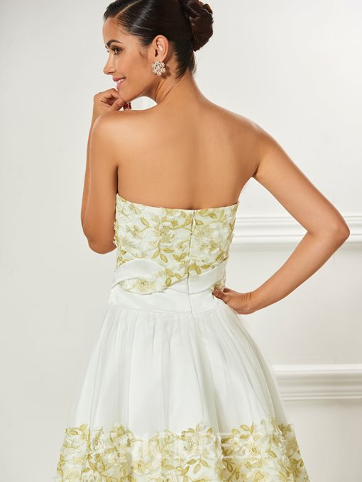 Ericdress Short A Line Strapless Applique Cocktail Dress