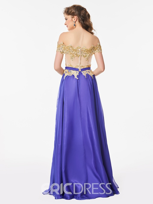 Ericdress A Line Beaded Off The Shoulder Long Prom Dress With Button Back
