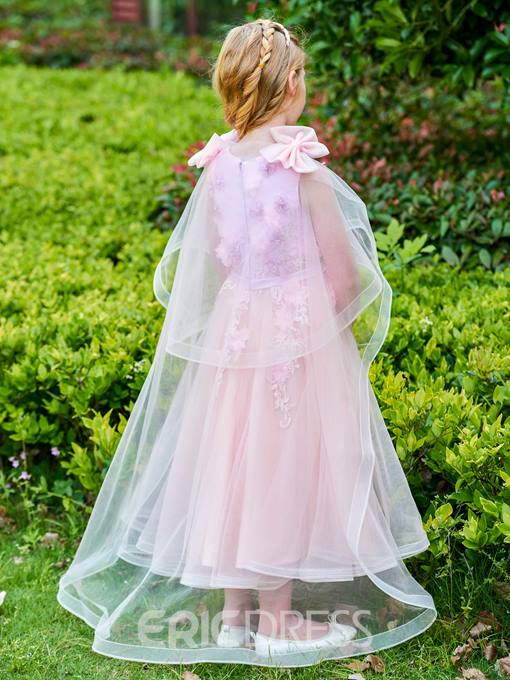Ericdress Scoop Flowers Ankle Length Flower Girl Dress