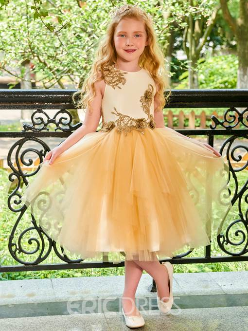 Ericdress Scoop Appliques Tulle Flower Girl Dress