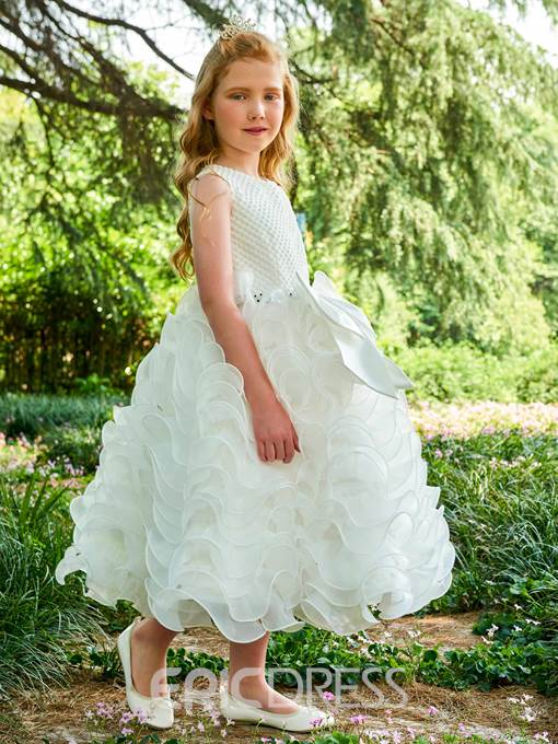 Ericdress Ball Gown Bowknot Tea Length Flower Girl Dress