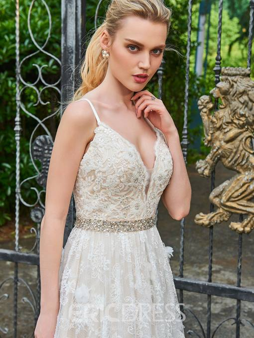 Ericdress A Line Lace Spaghetti Straps Color Wedding Dress