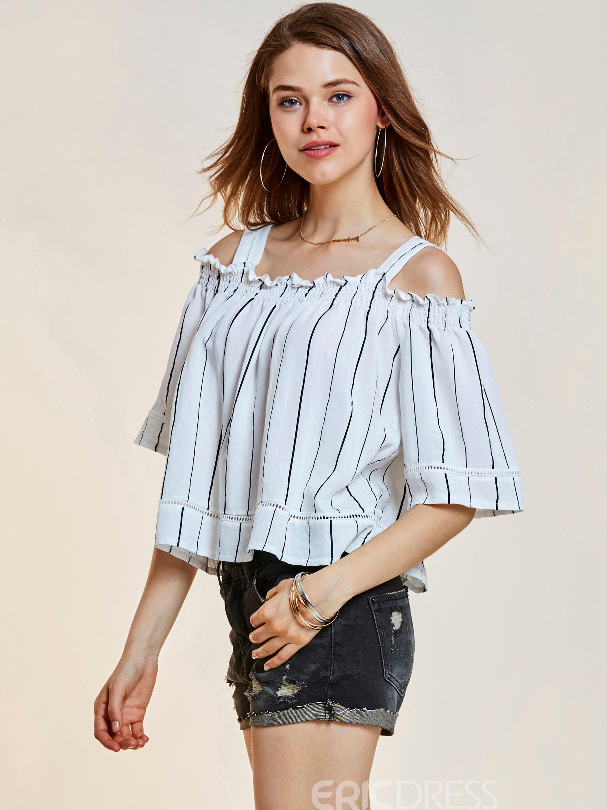 Ericdress Slash Neck Stripe Backless Women's T-shirt